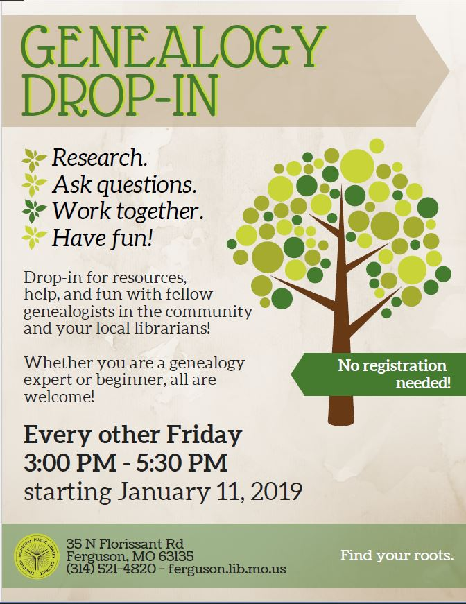 Genealogy Drop-In @ Ferguson Municipal Public Library